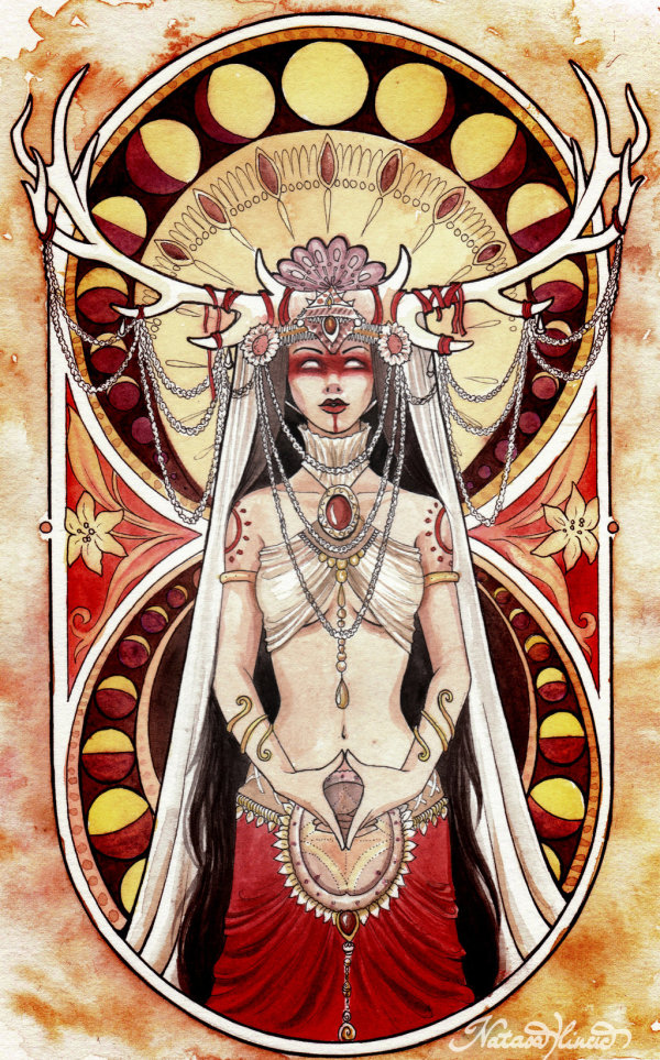 woman stag moon cycle red power wicca witch wild woman wilde vrouw ondernemer business mucha art nouveau pmdd